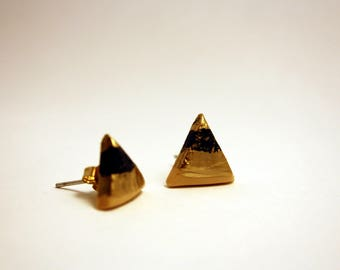 Handmade earrings, minimal, gold, black and pale yellow triangle