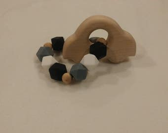 Wooden Car and Silicone Teether
