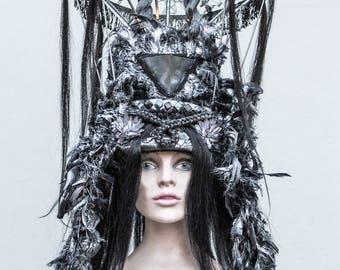 FEMME FATAL ,silver headdress with human hair, headpic dark gothic , show headdress