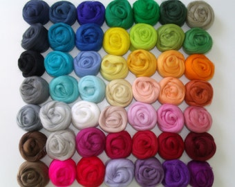 """Wool felting or spinning Merino Lot 49 """"Multicolor"""" colors + 1 free"""