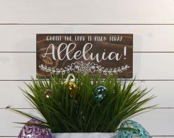 Easter Decor, Alleluia, Wooden Sign