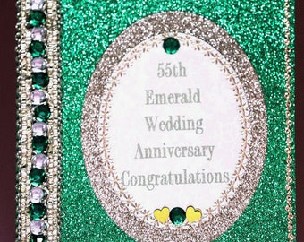 55th Emerald Wedding Anniversary Emerald Jewelled Congratulatory Card