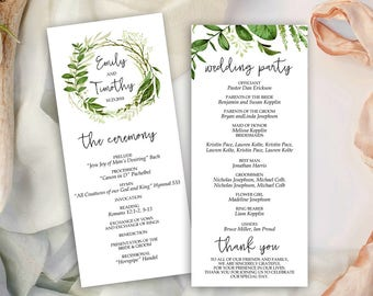 Wedding Program, Greenery Wreath , Printable Template, Garden Foliage (Emily), DIY Program, Instant Download, Editable text