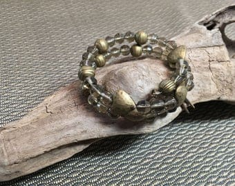 Smoky Quartz Large Memory Wire Bracelet