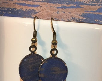 Blue and Brown Wood Patterened Earrings