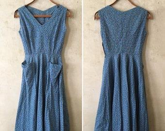 1950s Blue Floral Dress