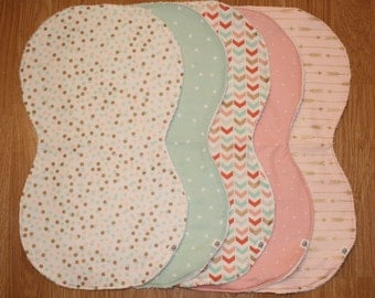 Pink, Mint, and Gold Contoured Burp Cloths (Set of 3)