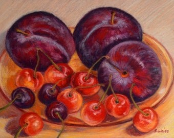 Vivid FOOD PORTRAIT Plums and Cherries Still Life, Kitchen Art, in Original 6.5 x 8.5 Pastel Painting by Sharon Weiss