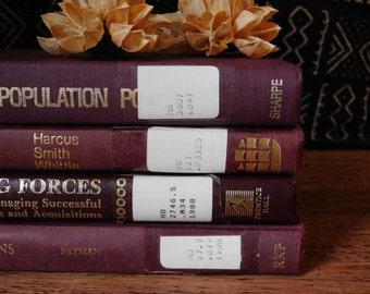Burgundy and gold books. Monochrome books. Decorative book set. Vintage books. Antique book set. Rustic decor. Farmhouse decor.