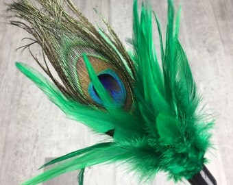 Cat toy | Peacock feather duster cat teaser toy | Interactive cat toy | Handmade cat toy | Feather cat toy