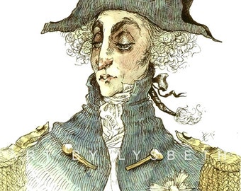 Original Prints - Ink and Watercolors - Lord Nelson - 18th Century - military - dandy