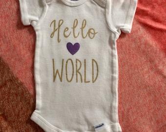 Hello World! Newborn onesie