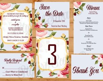 Vintage Pink Roses Printable Wedding Invitation Suite
