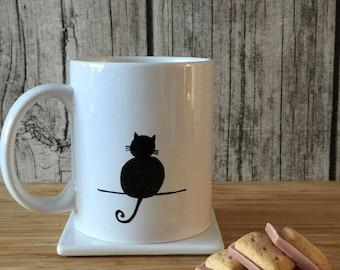 Cat Mug, Cat Lover Gift, Cat Gift, Black Cat Mug, Cute Cat Coffee Mug, Cat Decor, Gift for Cat Lover, Cat Lover Mug, Meow Mug,Minimalist Mug