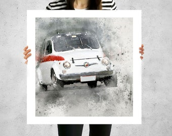 Fiat 500 abarth, living room canvas art, big canvas prints, classic cars, old fiat, fiat bambino, luigi, fiat 500 old, printing art prints,