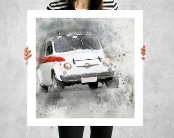 Fiat 500 Abarth, Living Room Canvas Art, Big Canvas Prints, Classic Cars,