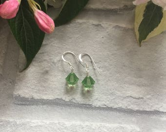 Green Swarovski Crystal Sterling Silver Earrings