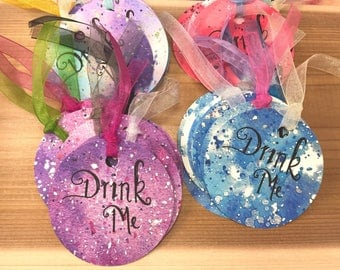 Alice in Wonderland Drink Me Tags Made-To-Order|Round Drink Me Tags|Alice in Wonderland Decorations|Drink Me Tag|Tea Party Decorations