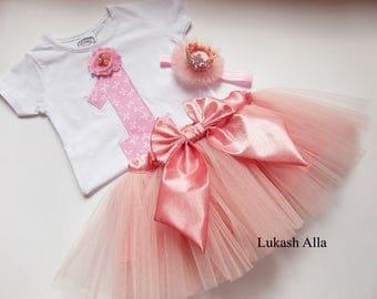 Baby tutu, Baby tutu set,1st Birthday Outfit, First Birthday Outfit, 1st Birthday Onesie, girl 1st birthday outfit,Pink Birthday Tutu
