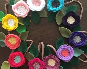 Felt Flower Hairband, Nylon Hairband, Girl Headband, Wool Felt Flower, Hair Accessories, Spring Hair Accessories