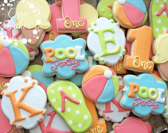 Pool party birthday cookies