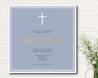 Boy Baptism Invitation Boy Christening Invite with Cross Baby Blue and Gold Printable Baptism Party Invite Printable Christening Gold Foil