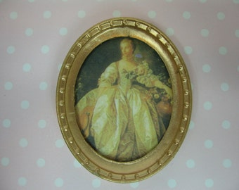 Miniature Doll House oil painting in oval gold frame