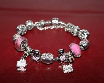 "European style like Pandora Bracelet, Pink Heilo Kitty Cat Charms and Teddy Bear, Metal flower charms , size 6"", 6.5"", 7""-7.45"""