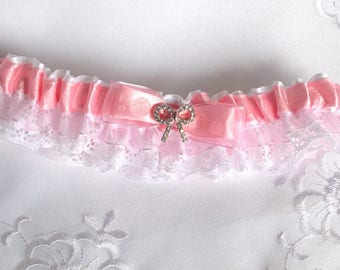 Pink garter and lace garter pink/accessory for the bride