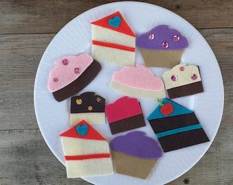 Felt Food Play Set/ Toy Food/ Felt Dessert Tray