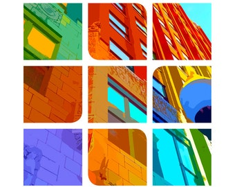 Downtown CITY SCAPE art print - City wall art, Downtown abstract art print, Architectural art print, building art, Father's Day gift