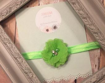 Bright lime green flower headband