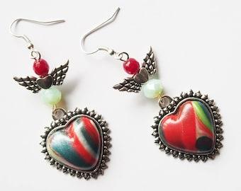 Winged heart charm earrings