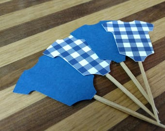 Gingham Blue Onesie Cupcake Toppers