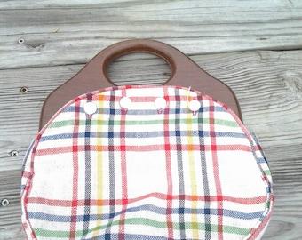 Vintage Handmade Plaid Skirt Handbag Wooden Handles