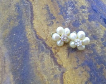 Vintage Avon Faux Pearl Floral Clip On Earrings with Rhinestone Centers