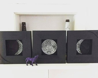 Triple Goddess Moon Phase Shadowbox Frame Lunar Wall Art
