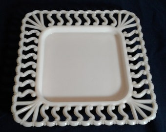Vintage Westmoreland Square Milk Glass Plate with Lace Edge