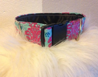 Pink Damask: girl dog collar