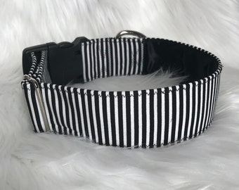 Striped Matching Set: match your dog, striped dog collar, black and white