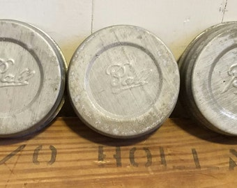 3 vintage zinc canning jar lids