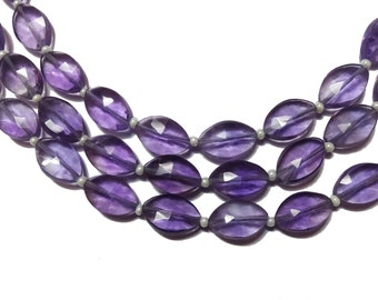 """AAA Grade AMETHYST Faceted Marquise shape Briolette beads, Straight Drilled, Size 7x11 mm mm, Full 8"""" Strand, Faceted Marquise Beads"""