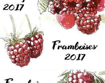Raspberry Jam Labels, canning labels customizable, raspberry jam, handmade stickers, watercolor labels, cans labels, raspberry stickers