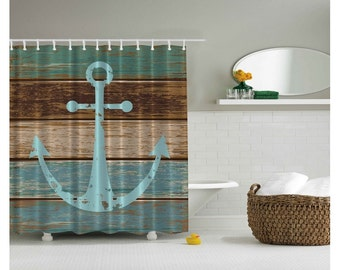 Anchor on Rustic Wood Nautical - Coastal Shower Curtain