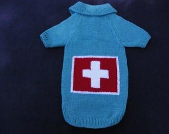 Coat for dog. Swiss flag. Size L