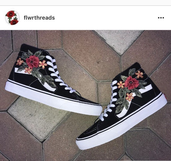 custom vans shoes black old skool or sk8 hi with rose. Black Bedroom Furniture Sets. Home Design Ideas