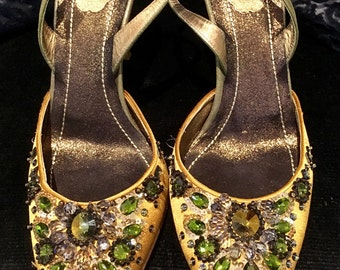 Stunning Rene Caovilla Venezia embellished slingback stilletto evening shoe 39