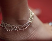 Old Indian Anklet, Sterling Silver Foot Bracelet, Ethnic Jewelry, Belly Dance Jewelry