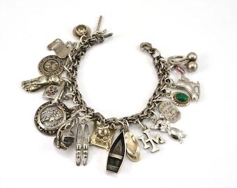 Charm Bracelet, 20 Charms, Vintage Bracelet, Sterling Silver