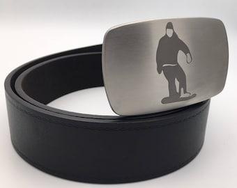 Snowboard belt buckle Stainless steel belt buckle snap on buckle gift for him ski belt buckle silver buckle metal belt buckle